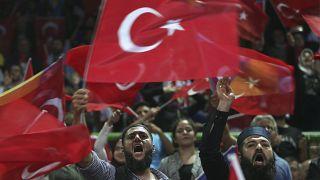 Turks in Sarejevo attend a rally held by President Erdogan