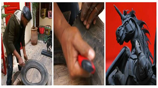شاهد: فنان مغربي يحول إطارات السيارات القديمة إلى تماثيل مذهلة