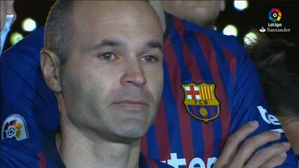 Camp Nou da brividi per l'addio di Iniesta