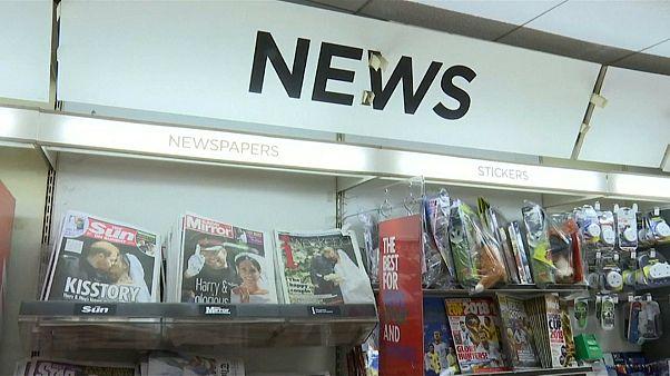 rush to gather UK newspapers commemorating royal wedding