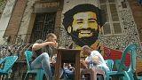 رسم للاعب المصري محمد صلاح على أحد جدران القاهرة