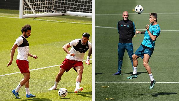 Entrenamientos del Liverpool (izquierda) y el Real Madrid (derecha)