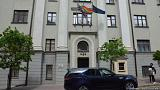 The rainbow flag displayed at the UK embassy in Minsk, Belarus, on May 17