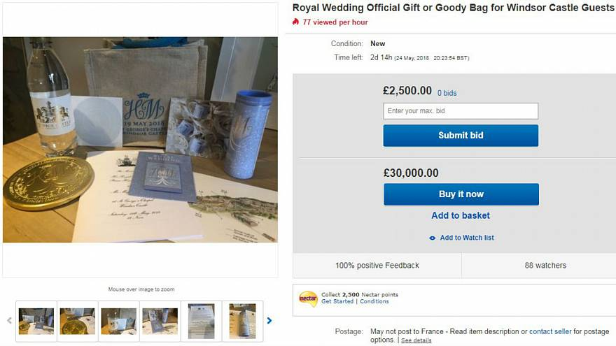 Royal wedding guests flog gift bags online