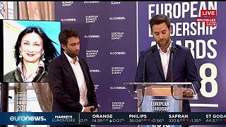 Daphne Caruana Galizias Söhne nehmen den Sonderpreis entgegen