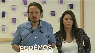 Pablo Iglesias and his partner, Podemos spokeswoman Irene Montero