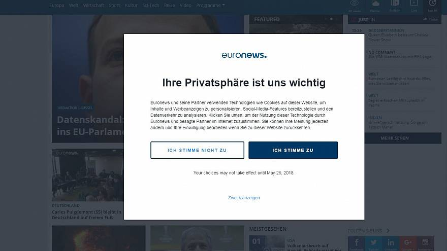 A privacy notice on Euronews' German site
