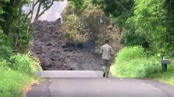 Lava approaches the Puna Geothermal Venture