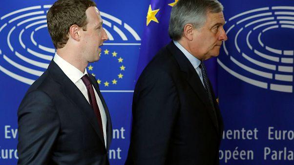 مارک زاکربرگ و آنتونیو تایانی در پارلمان اروپا