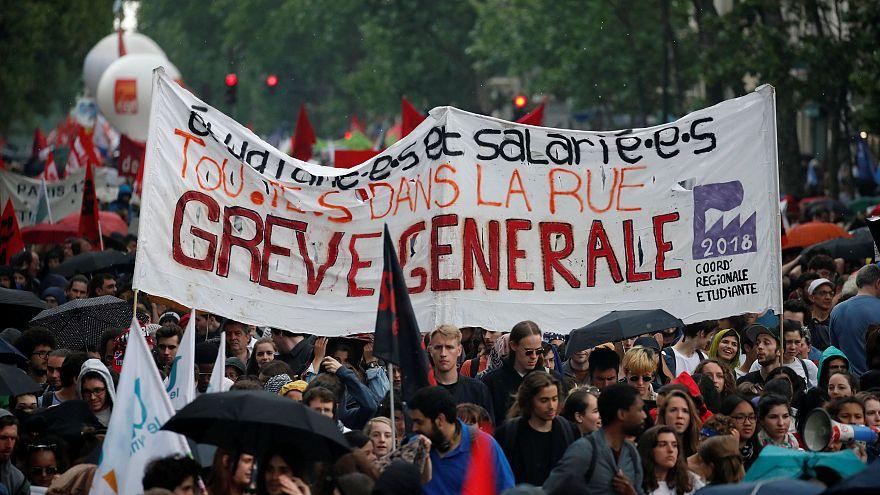 Função pública em greve e protestos contra Macron