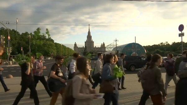 Moskauer Studenten gegen WM-Fanzone