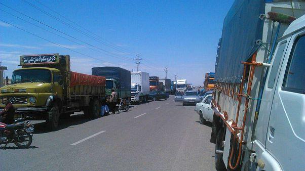 اعتصاب کامیونداران در گناباد