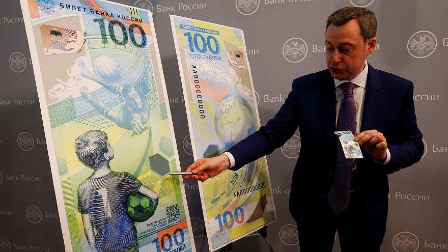 Apresentação da nota de 100 rublos do Mundial da Rússia