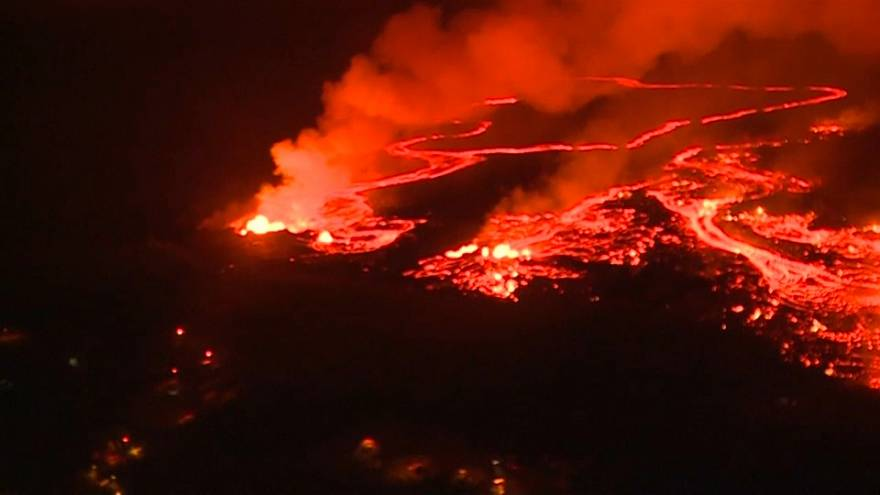 Kilauea Vulkan: Nachts über der Lava