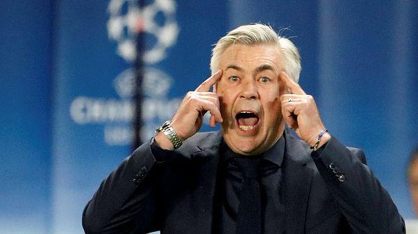 Carlo Ancelotti num jogo da liga dos campeões