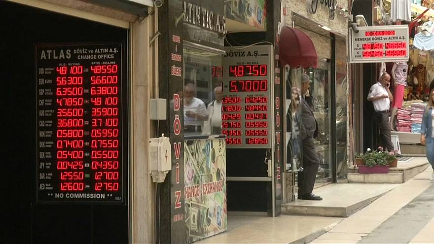 Exchange rates are shown in Istanbul