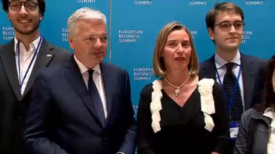 Didier Reynders és Federica Mogherini Brüsszelben