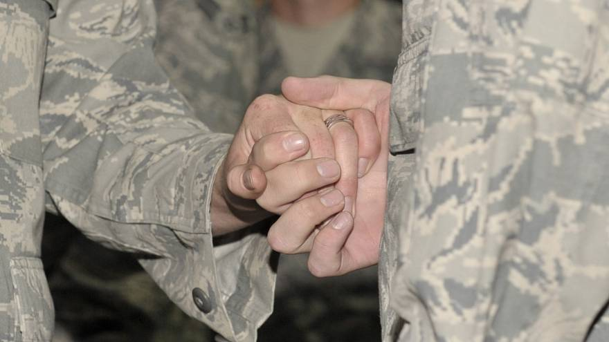 Two U.S. soldiers get married.
