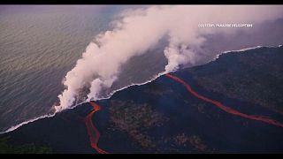 Kilauea lava streams into Pacific Ocean