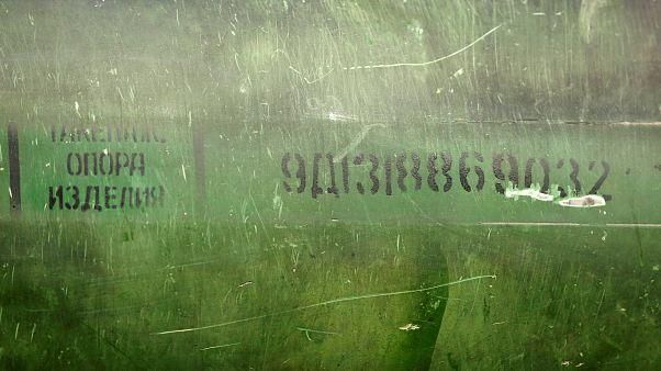 Обломки ракеты комплекса «Бук», представленные комиссией