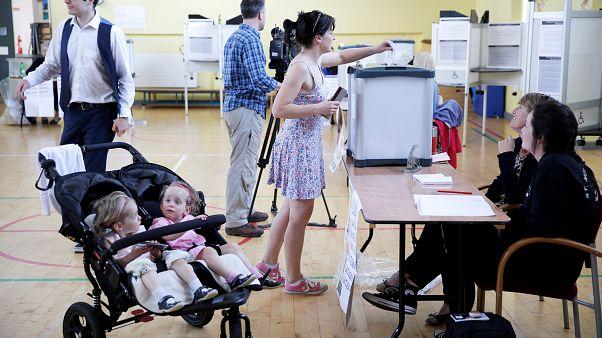 A woman votes in Ireland's abortion referendum