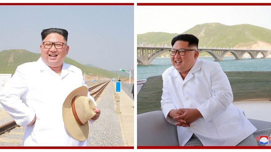 Le foto di Kim Jong-un che inaugura una ferrovia, camicia bianca e cappello di paglia