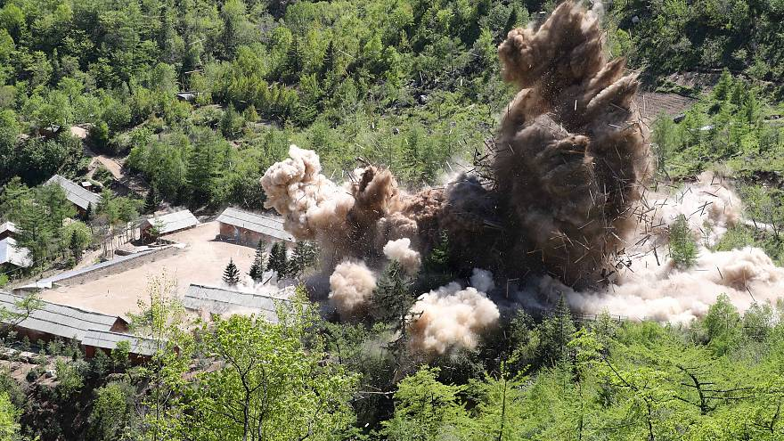 A command post and barracks of Punggye-ri nuclear test ground are blown up