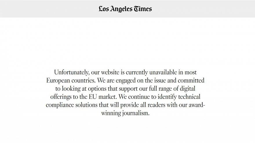 A message on the Los Angeles Times website