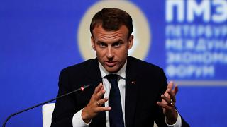French President Macron speaks during trip to Russia