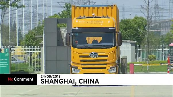 A driverless truck being tested in China