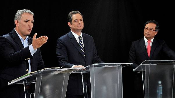 Presidential candidates Ivan Duque, German Vargas Lleras and Gustavo Petro