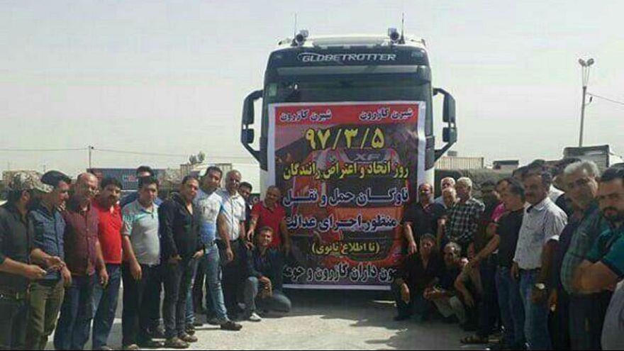 اعتصاب کامیونداران کازرون در روز ۵ خرداد ۹۷