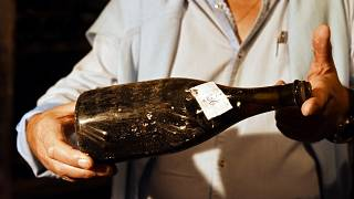 """A vintage bottles of """"yellow wine"""" from 1774"""