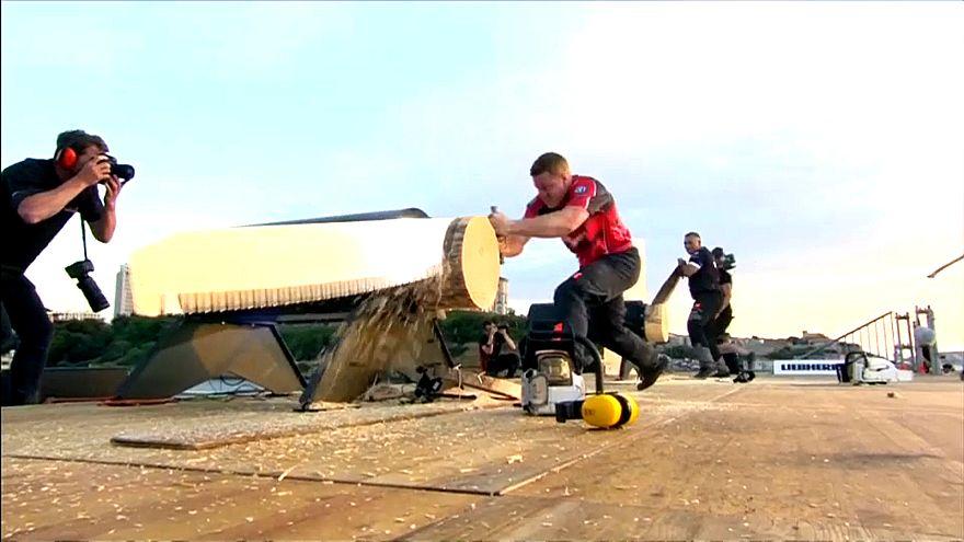 Dünya Odun Kesme Yarışması nefesleri kesti