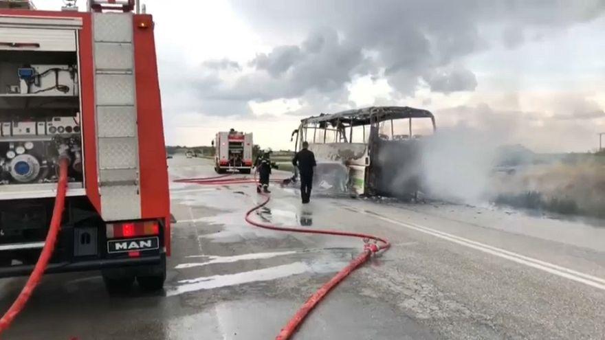 Un autobús fulminado por un rayo en Grecia