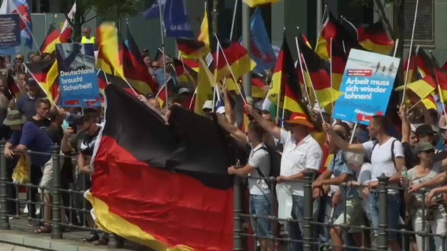 Thousands of nationalist Alternative for Germany supporters march in Berlin