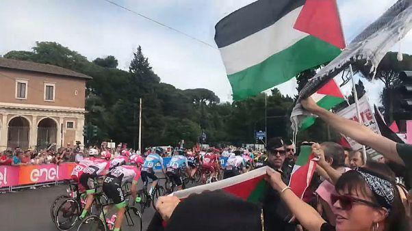 Pro-palästinensischer Protest beim Giro d'Italia