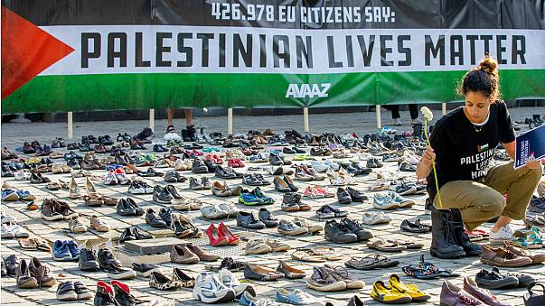 4,500 pairs of shoes displayed near EU building over Palestinian deaths