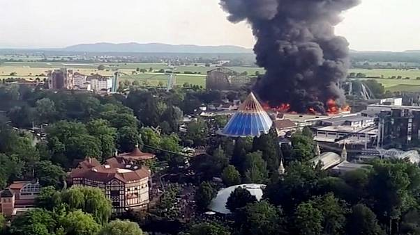 Fire is seen at Europa-Park in Rust