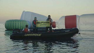 Greenpeace protest against single-use plastics in April, 2018