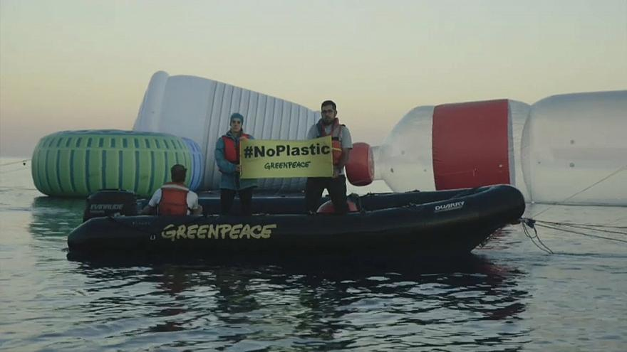 Greenpeace protest against single-use plastics in April, 2018