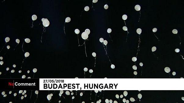 Lâcher de ballons contre l'oubli en Hongrie