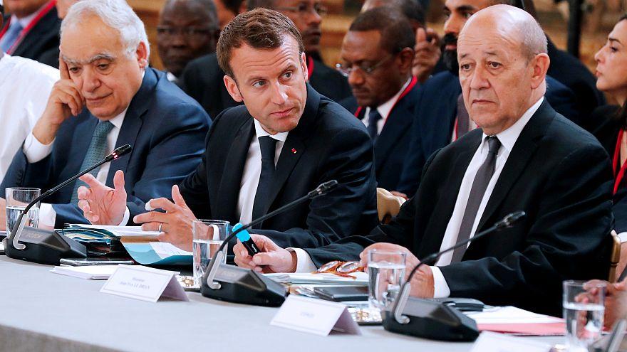 U.N. Envoy to Libya, Ghassan Salame, French President Emmanuel Macron and F