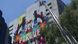 شاهد: إنقاذ رسامي غرافيتي علقوا في الهواء بالمكسيك