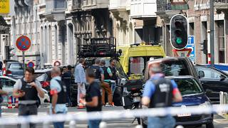 Polizisten am Ort des Attentats in Lüttich