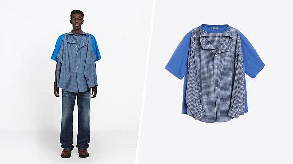 Questa maglietta con una camicia cucita sopra lascia perplessi