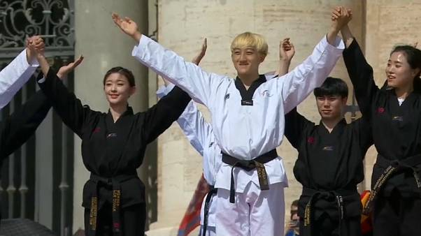 South Korean taekwondo athletes perform for Pope