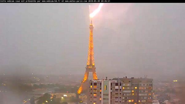 Rayos sobre la Torre Eiffel