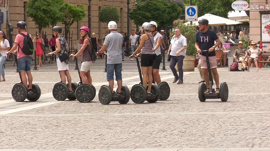 Tourists on Segways in Budapest