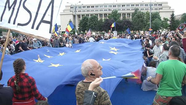 Anti-corruption protesters in Bucharest in May 2018